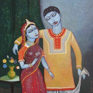 Painting on canvas of couple.