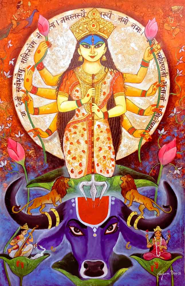 Painting on canvas of Durga