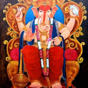 Painting of ganesh on canvas