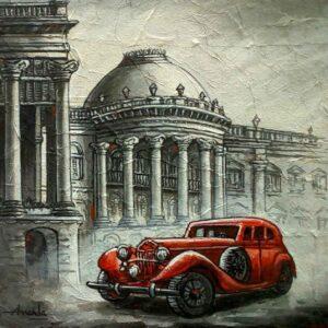 Painting of Kolkata cityscape on canvas