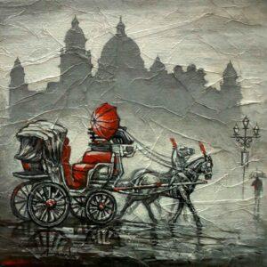 Painting on canvas of Kolkata cityscape