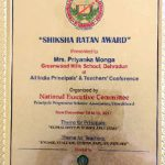 Congratulations to Mrs. Priyanka Monga for receiving Shiksha Ratna Award, 2017