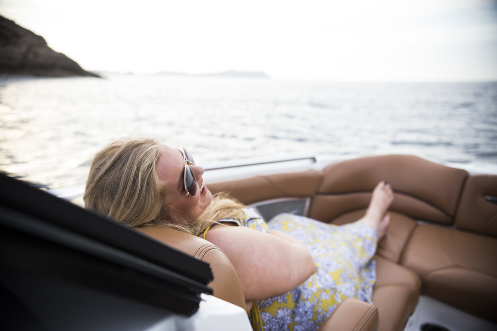 What to wear and do in Ibiza, Baleric Islands | Dress from TK Maxx | Boat Sunset Boats Ibiza | Elle Blonde Luxury Lifestyle Destination Blog
