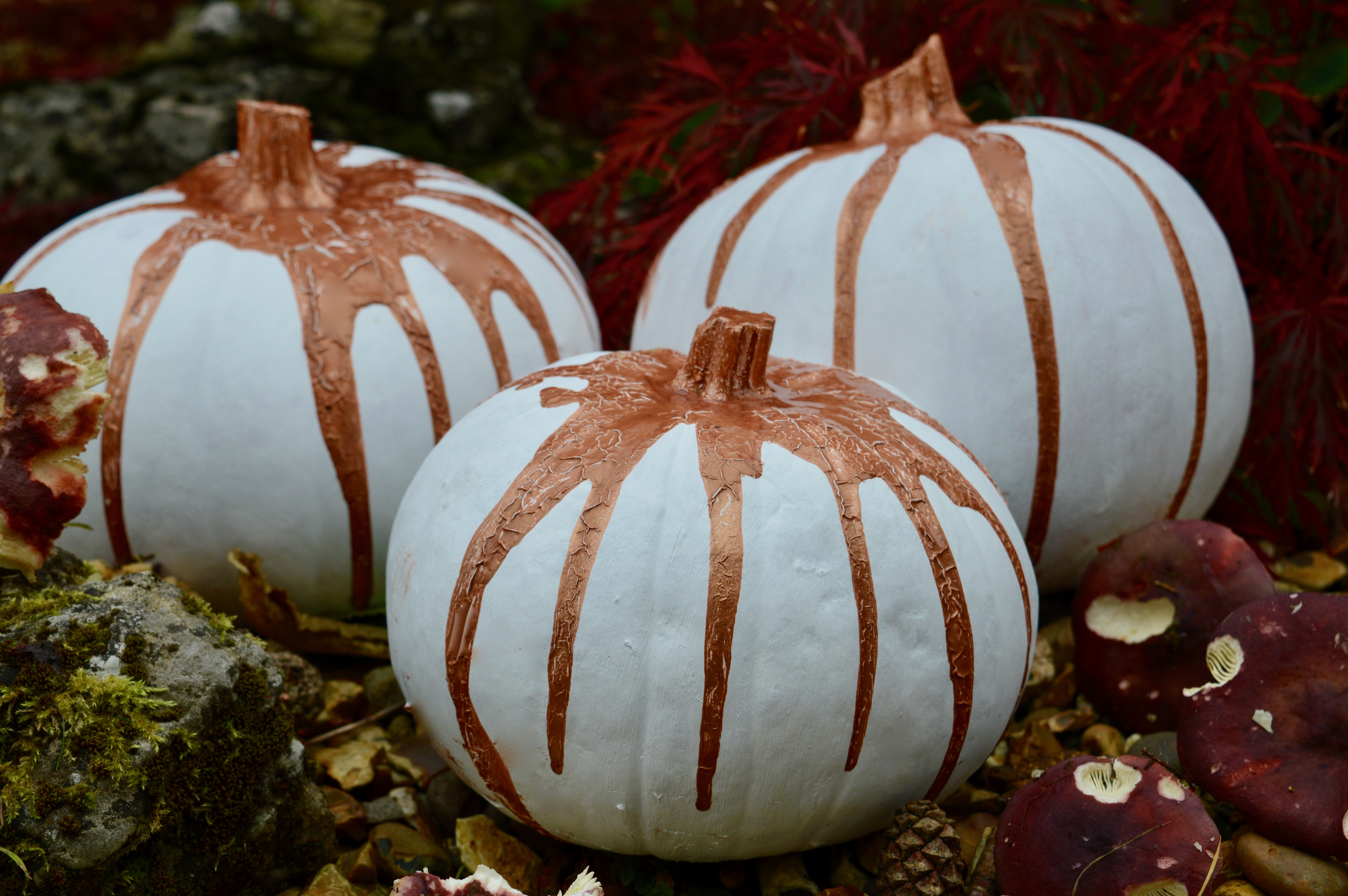 How to paint a pumpkin   Home Interiors   DIY Craft Project   White & Rose Gold   Elle Blonde Luxury Lifestyle Destination Blog