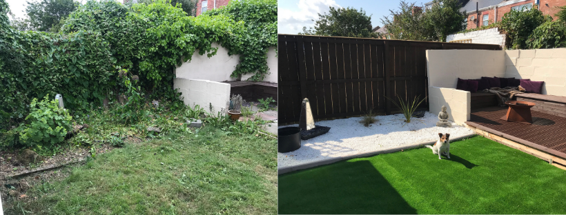 Garden renovation and transformation - styled on Love Island and Ocean Beach Ibiza | DIY Projects and Upcycling | Small garden inspo | Elle Blonde Luxury Lifestyle Destination Blog