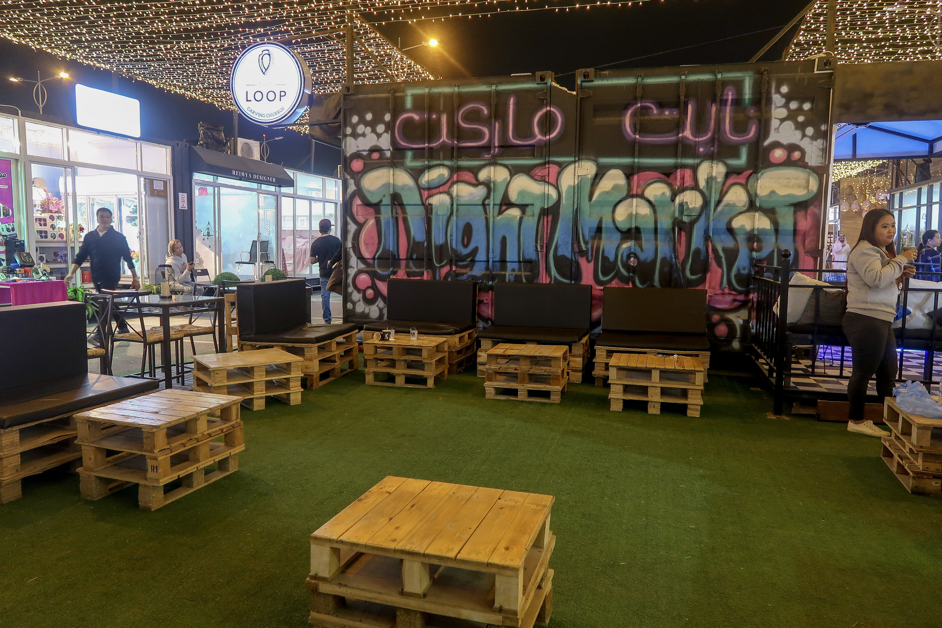 Night Market Container Park | Visit Qatar | Doha, the capital of Qatar is located in the Middle East and the World Cup 2022 location. Find out how I spent 4 days on my visit to Qatar | Travel Guide & Tips | Elle Blonde Luxury Lifestyle Destination Blog