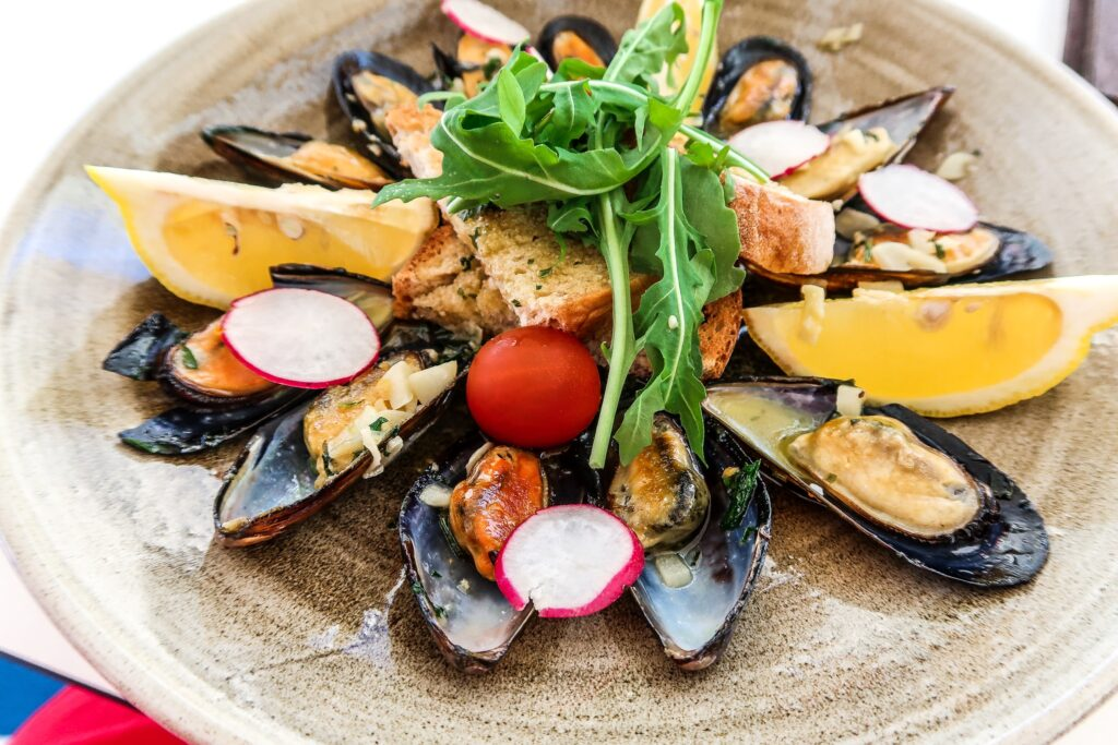 Mussels Algarve Style from pool bar - Hotel California in Albuferia Old Town, The Algarve Portugal | eco-friendly, vegan, adults-only hotel with a modern twist | On The Beach Holidays Review | Elle Blonde Luxury Lifestyle Destination Travel Blog
