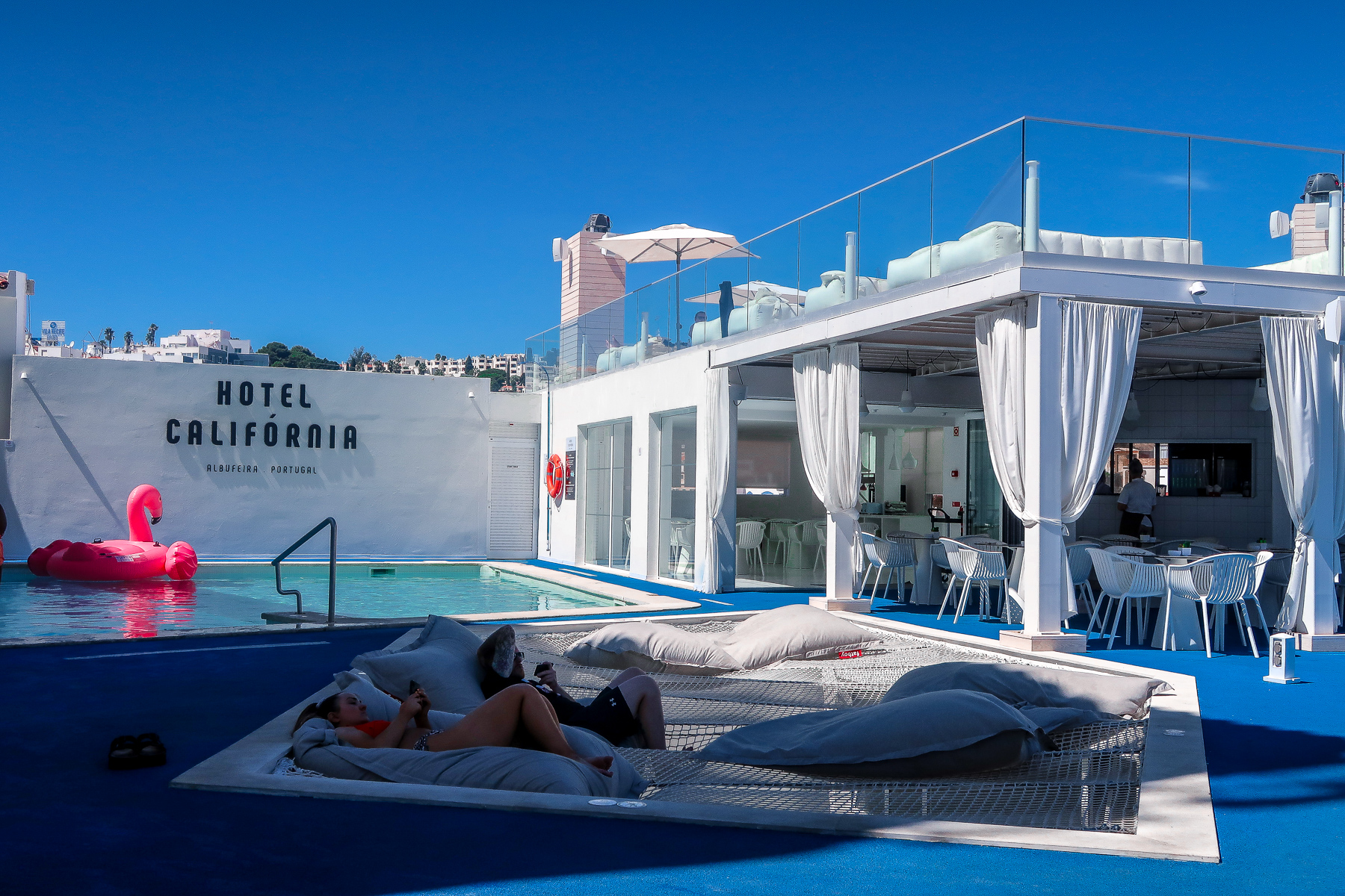 Summer Hotel Pool - Hotel California in Albuferia Old Town, The Algarve Portugal | eco-friendly, vegan, adults-only hotel with a modern twist | On The Beach Holidays Review | Elle Blonde Luxury Lifestyle Destination Travel Blog