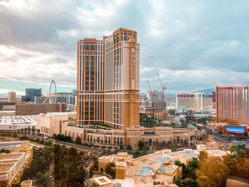 View of Palazzo from Wynn bedroom Wynn Slots | 7 Night Itinerary for Las Vegas | If you're looking to plan things to do in Vegas here's what we got up to on our 6th visit | Travel Tips | Elle Blonde Luxury Lifestyle Destination Blog