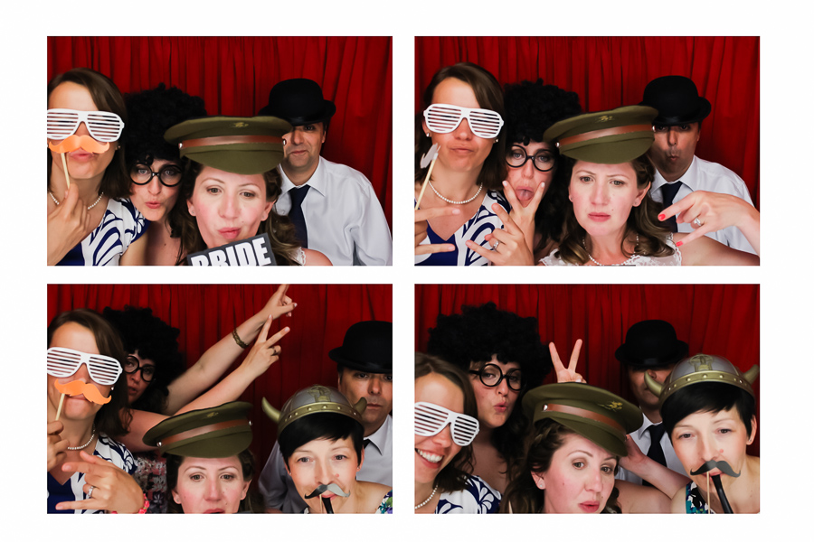 Bride and friends in the Wedding Booth