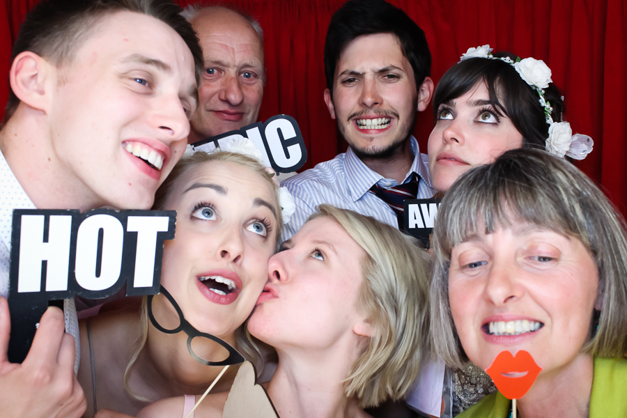 group in the photo booth at the devonshire dome