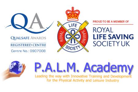 Logos for Qualsafe Awards, Royal Lifesaving Society UK and P.A.L.M. Academy