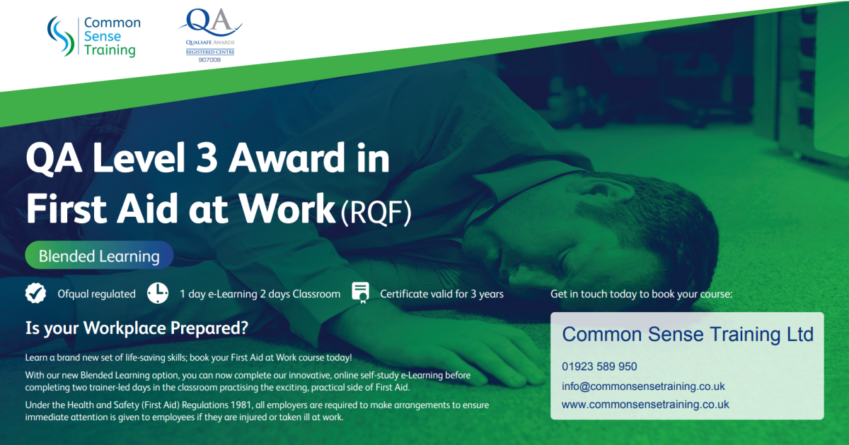 Advert for First Aid at Work qualification with blended learning delivery showing a picture of a man collapsed on the office floor