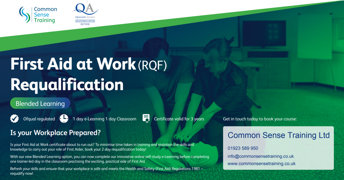 Advert for First Aid at Work requalification with blended learning delivery showing a picture of a female trainer and male candidate performing CPR on a manikin