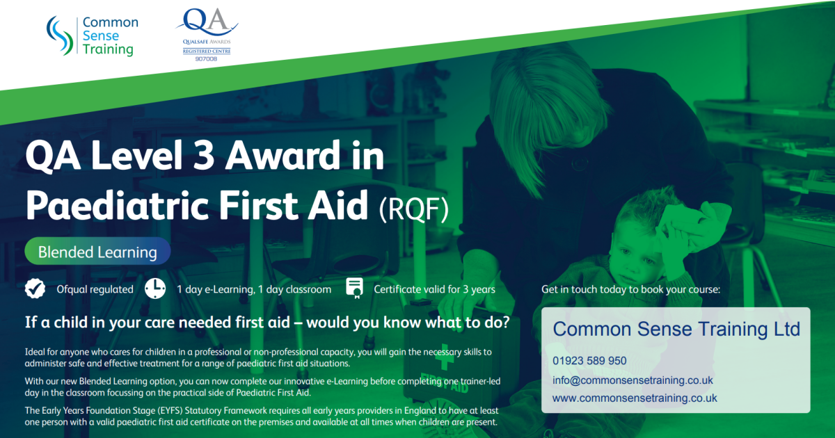Advert for Paediatric First Aid at Work qualification with blended learning delivery showing a picture of a female first aider tending to a child's head injury