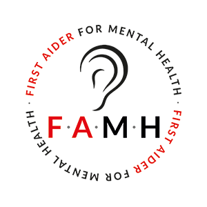 First Aider for Mental Health badge showing a ear indicating someone listening.