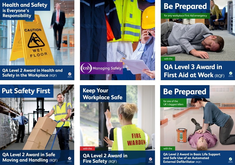 Posters showing health and safety training courses