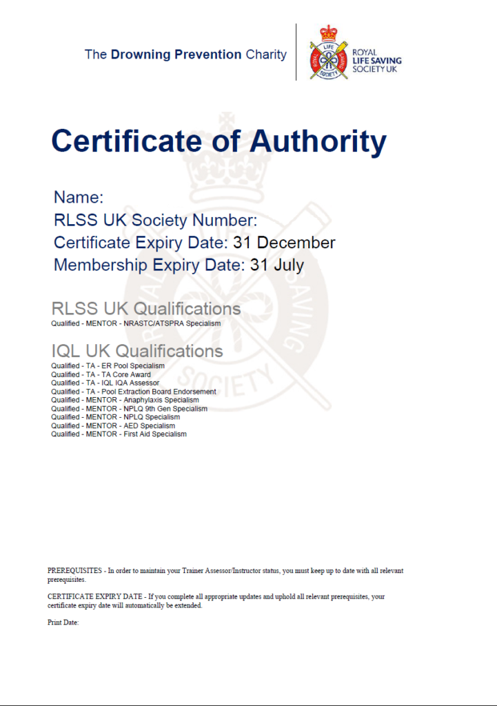 Certificate of authority showing RLSS UK and IQL UK qualifications