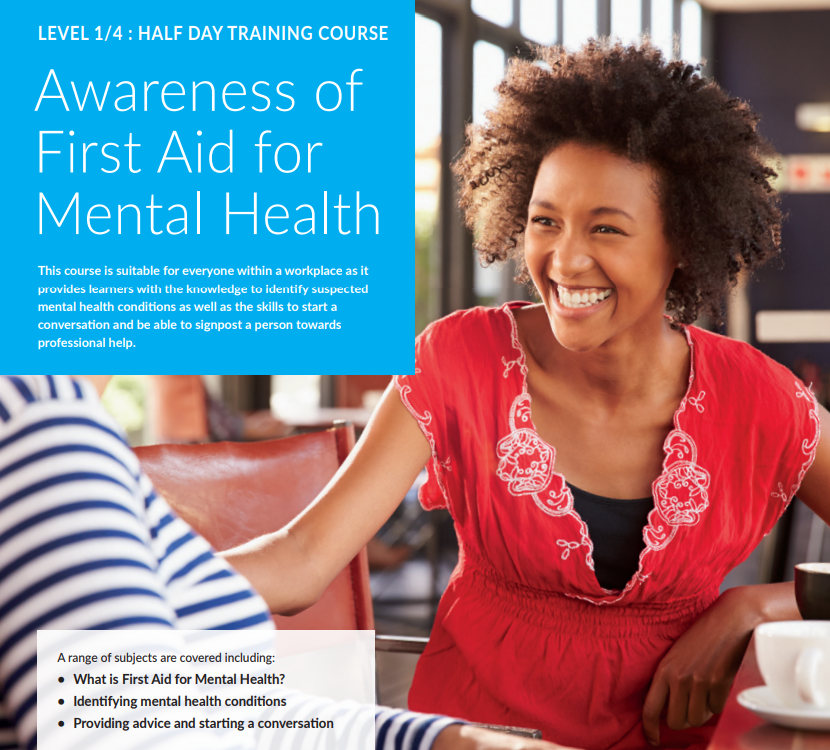 Awareness of First Aid for Mental Health course description and a picture of a two females chatting and smiling.