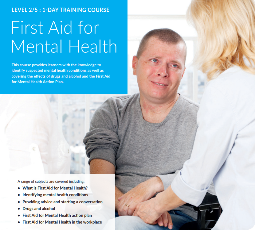 First Aid for Mental Health course description and a picture of a male being consoled by two females, one providing reassurance by holding his hand.