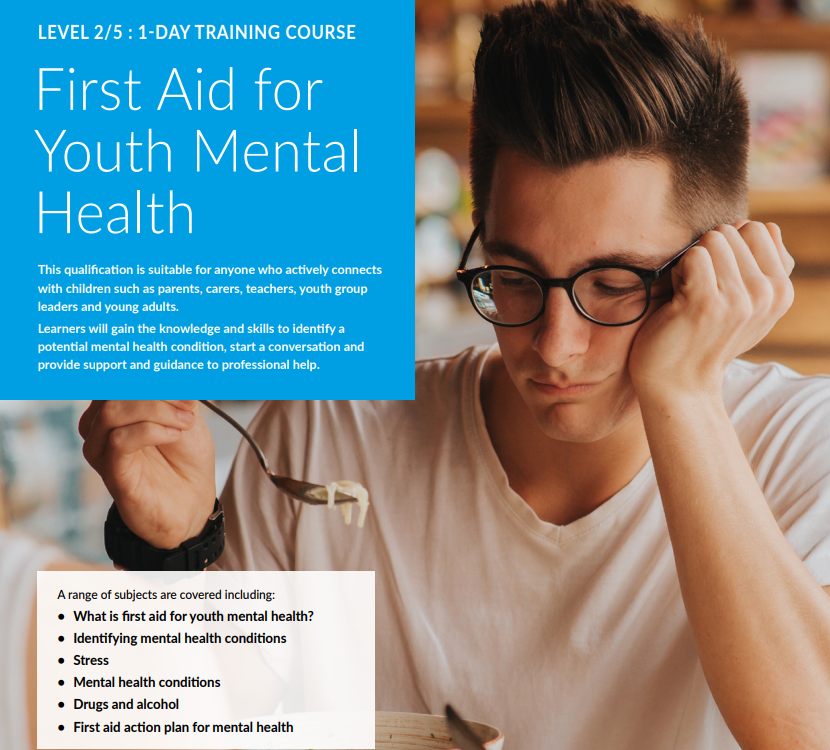 First Aid for Youth Mental Health course description and a picture of a male teenager holding a spoonful of noodles with no interest in eating them.