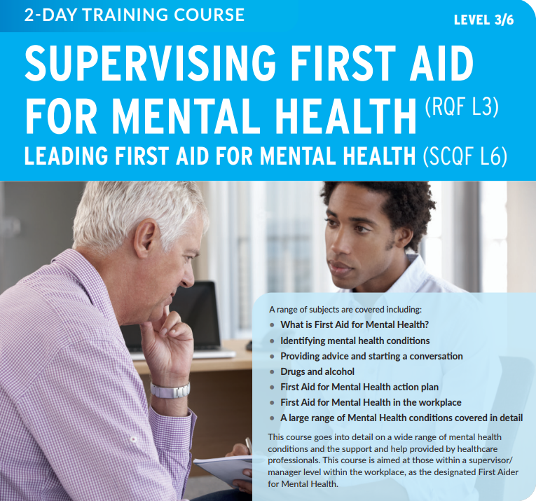 Supervising First Aid for Mental Health course description and a picture of two males talking in an office environment