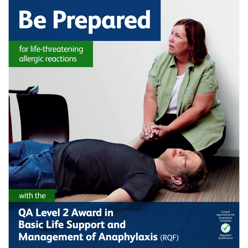 Basic Life Support and Management of Anaphylaxis - Female looking concerned for a male lying on the floor with swollen puffy eyes