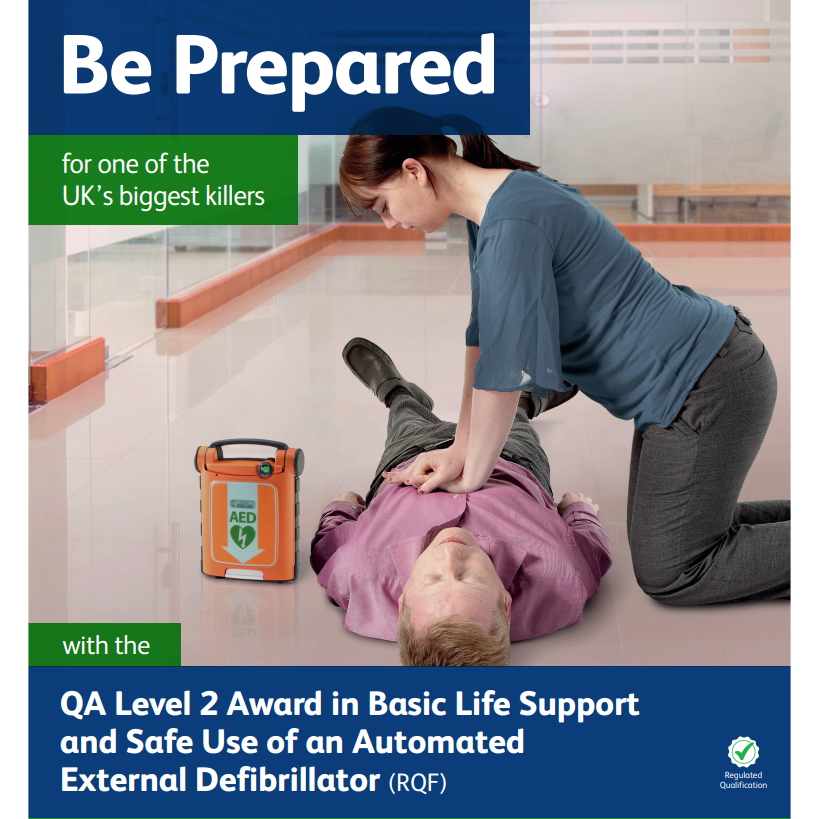 Basic Safe Support and Safe Use of an Automated External Defibrillator - Female performing chest compressions on collapsed male