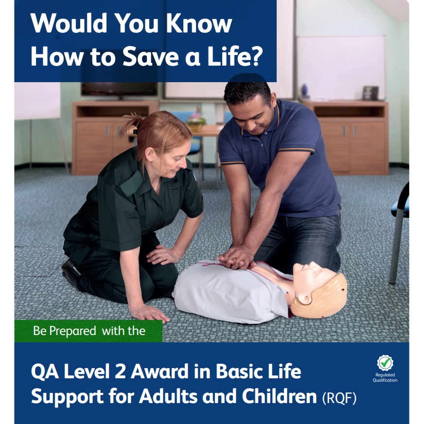 Basic Life Support for Adults and Children - Lady watching man perform CPR on a manikin
