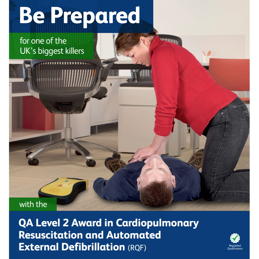 Cardiopulmonary Resuscitation and Automated External Defibrillation - Lady performing CPR on a male in an office environment