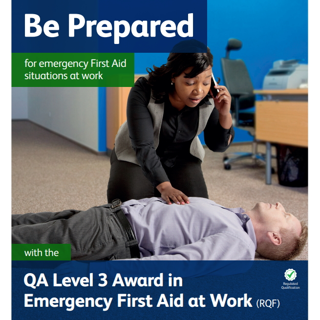 Emergency First Aid at Work - Female on phone making an emergency call whilst kneeing over a collapsed male