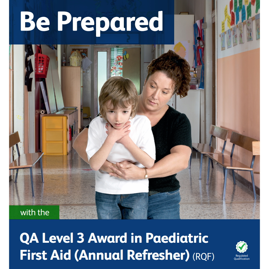 Paediatric First Aid (Annual Refresher) - Lady performing abdominal thrusts on a young boy who is choking in a school environment