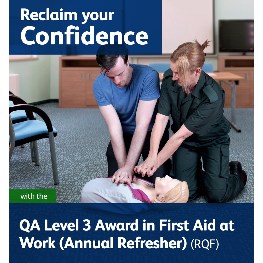 First Aid at Work (Annual Refresher) - Tutor demonstrating hand placement for CPR to a male