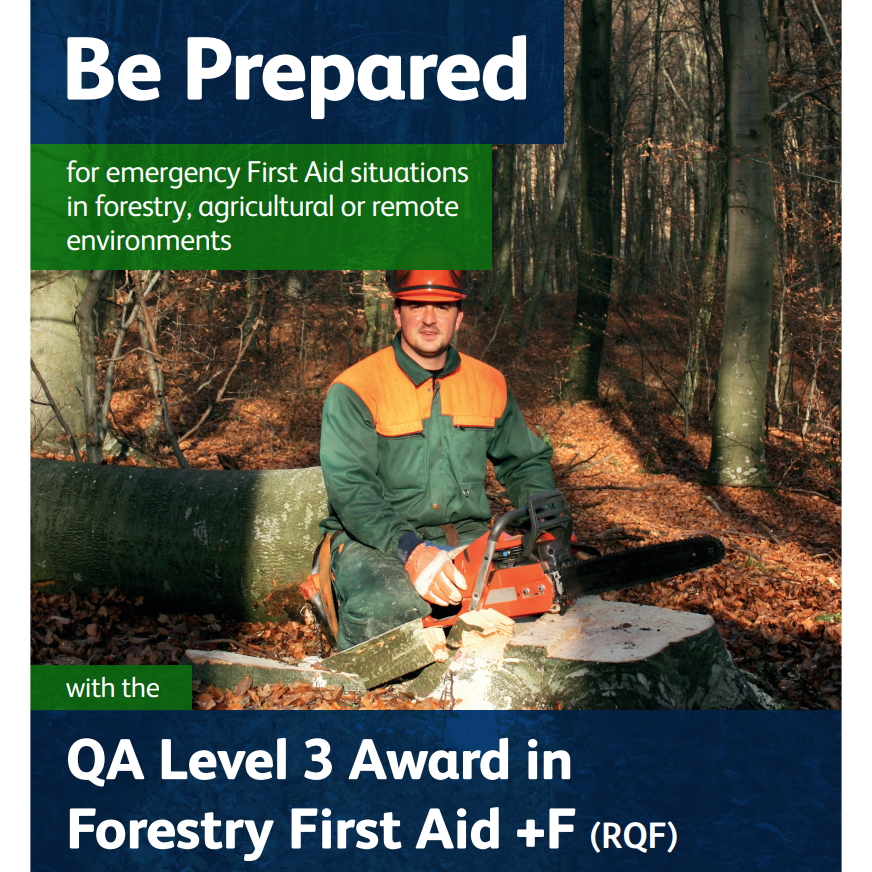 Forestry First Aid - Lumberjack in woodland with chainsaw