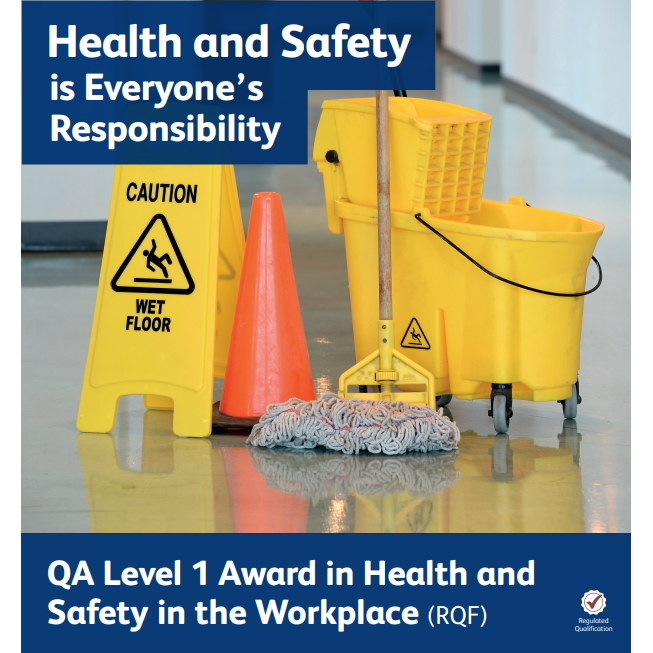 QA Level 1 Award in Health and Safety in the Workplace (RQF) - image showing a mop, bucket, cone and a caution wet floor sign