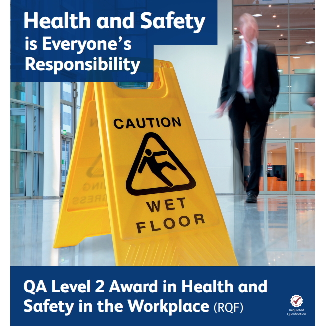 QA Level 2 Award in Health and Safety in the Workplace (RQF) - image showing man walking toward a caution wet floor sign