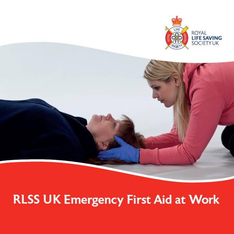 RLSS UK Emergency First Aid at Work - Female first aider supporting a female casualty head