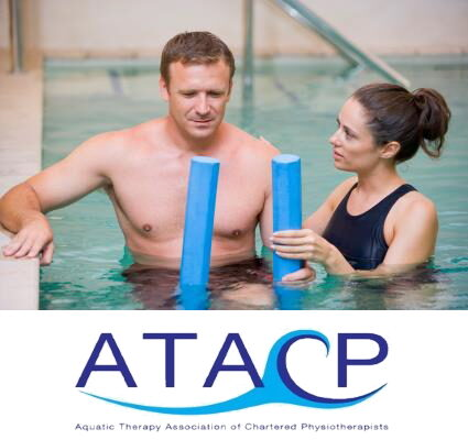 Man taking part in a hydrotherapy session with female instructor. Aquatic Therapy Association of Chartered Physiotherapists logo underneath.