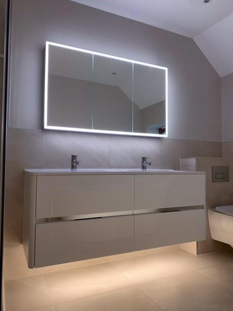 white floating bathroom vanity furniture with recessed LED mirrored cabinet