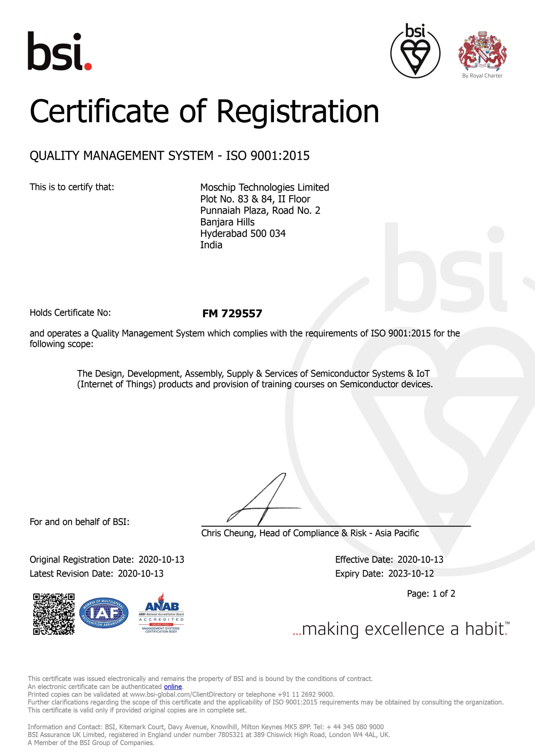MosChip ISO 9001-2015 Certification page