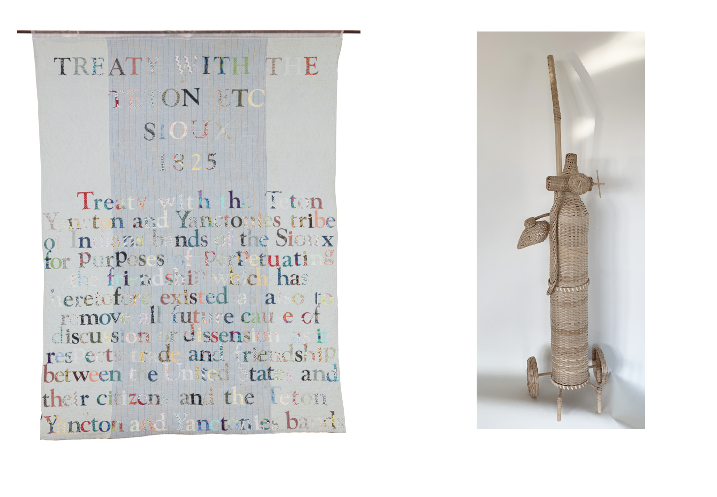 This is an image of two works of art by Gina Adams and Merritt Johnson - one is a textile and the other a sculpture