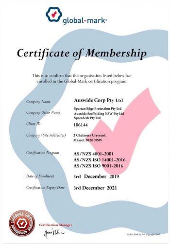 Auswide Certificate