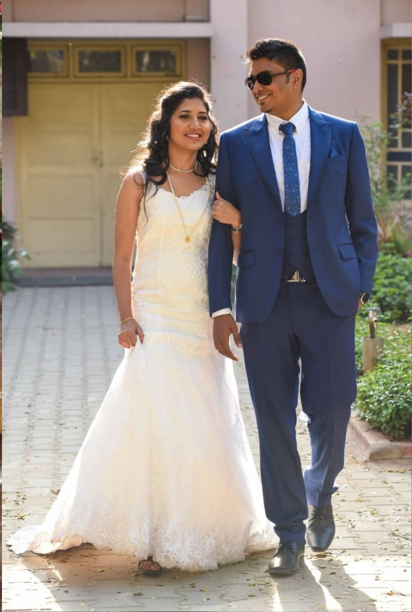 Fit and flare wedding gown in ivory colour