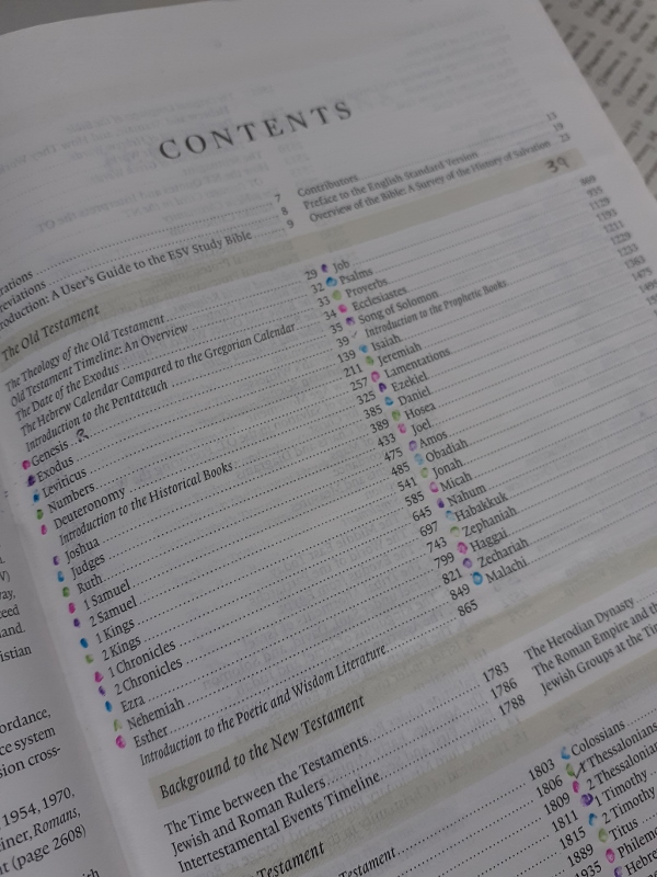 Contents page of Bible