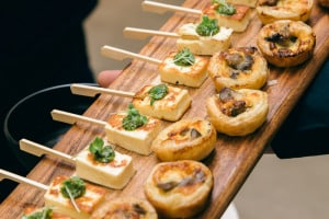 ONEWORLD Canape Menu - Mushroom quiche with haloumi