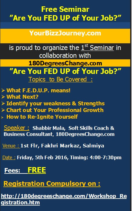 1st Seminar - Are You Feedup Of Your Job