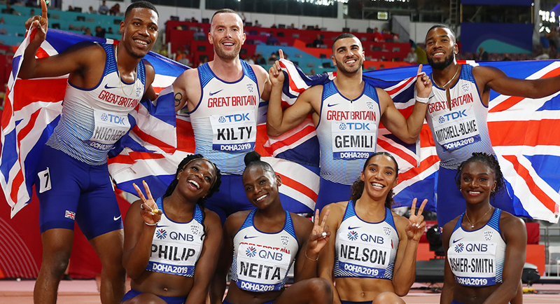 Adam & Dina help both 4x100m relay to second place at the Worlds
