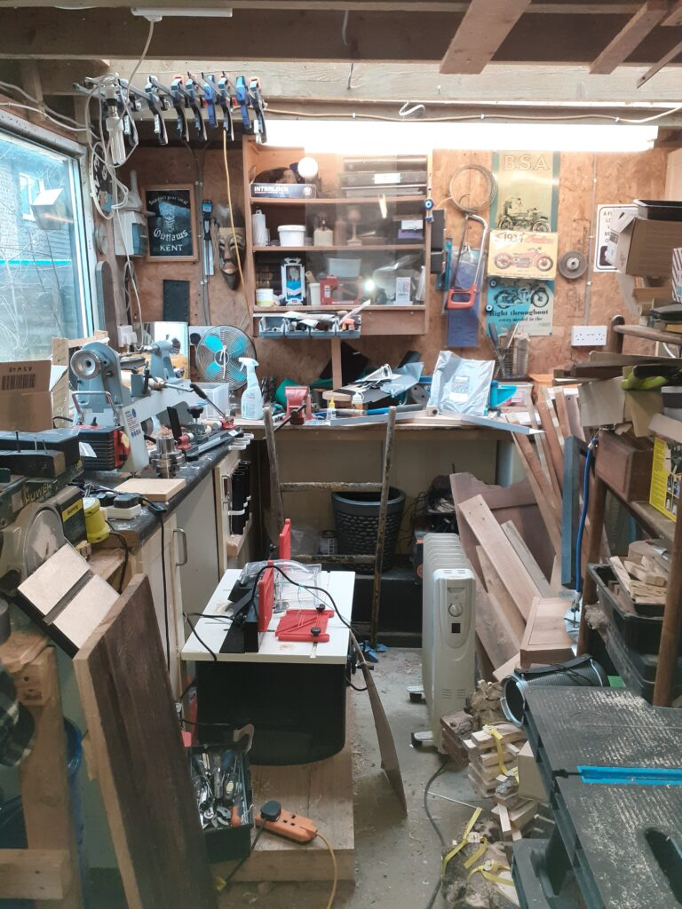 A photo of my workshop, the place where all my unique pens and desk accessories are made