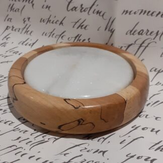 Spalted beech and marble tile coaster. approximate size 125mm diameter by 30mm high