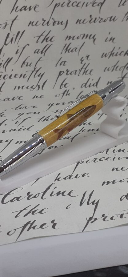 Anglers roach pen cast in clear resin with twist top action